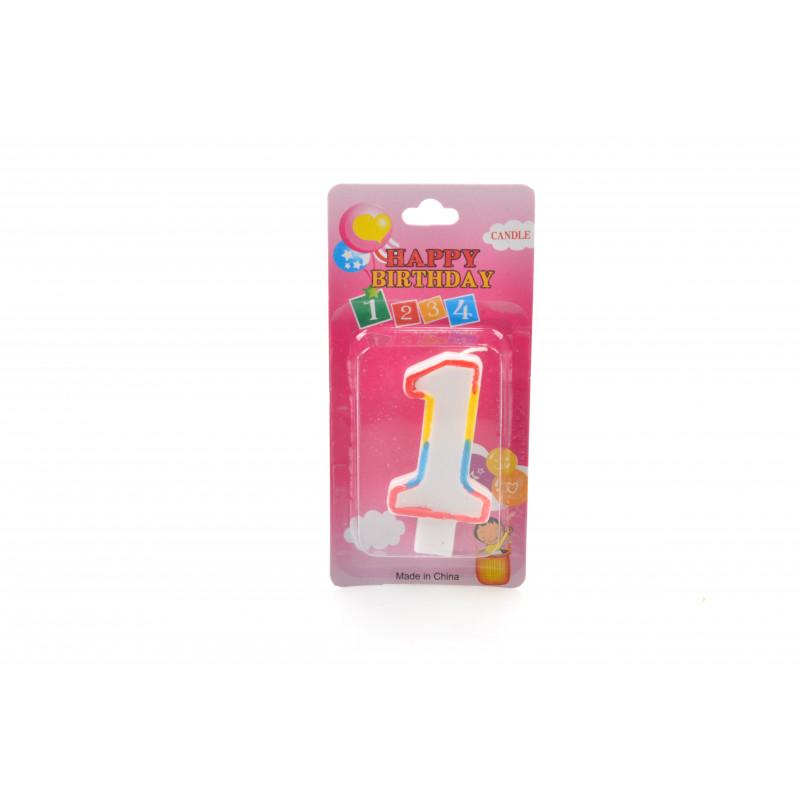 Świeczki urodzinowe kolorowe 0-9 6,5cm