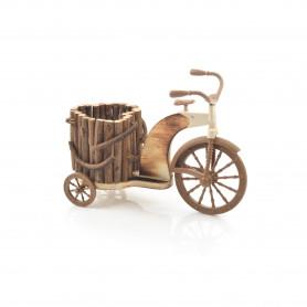 Drewniany kwietnik z korą ROWER 28x19,5