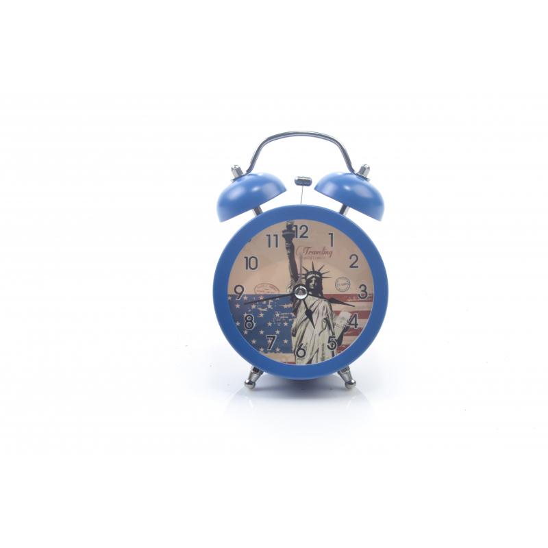 Metalowy zegar z budzikiem