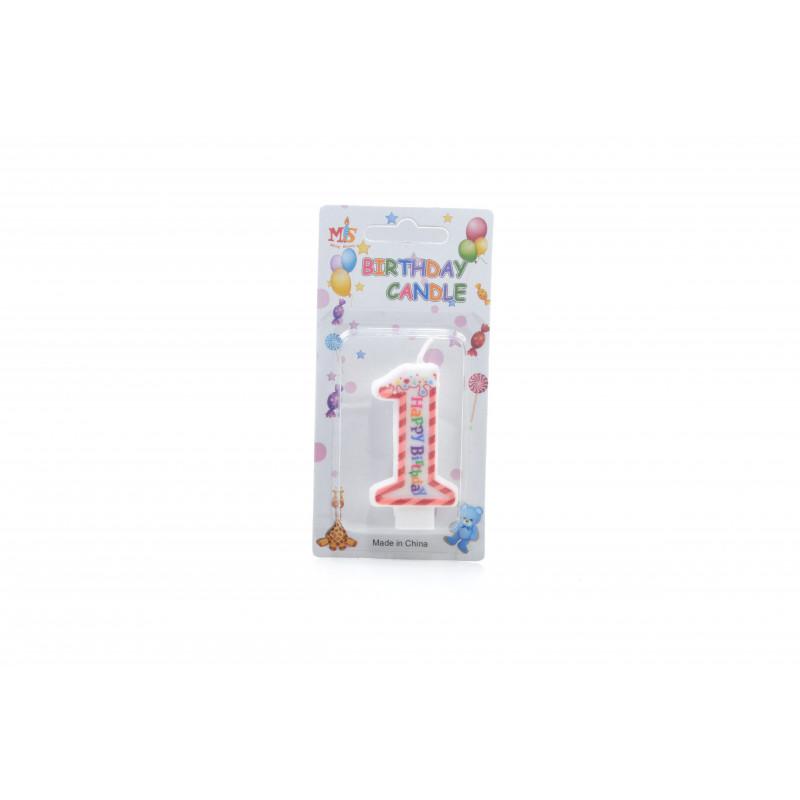 Świecznki urodzinowe 0-9 PASKI 6cm