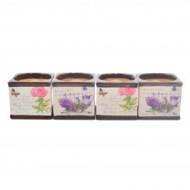 Ceramiczna doniczka kwadrat mix kwiaty