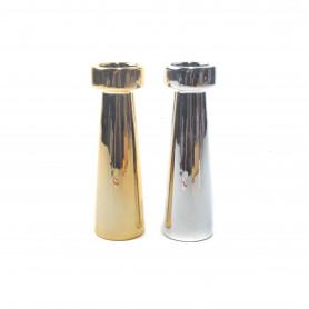 Ceramiczny świecznik metalic 18,5cm