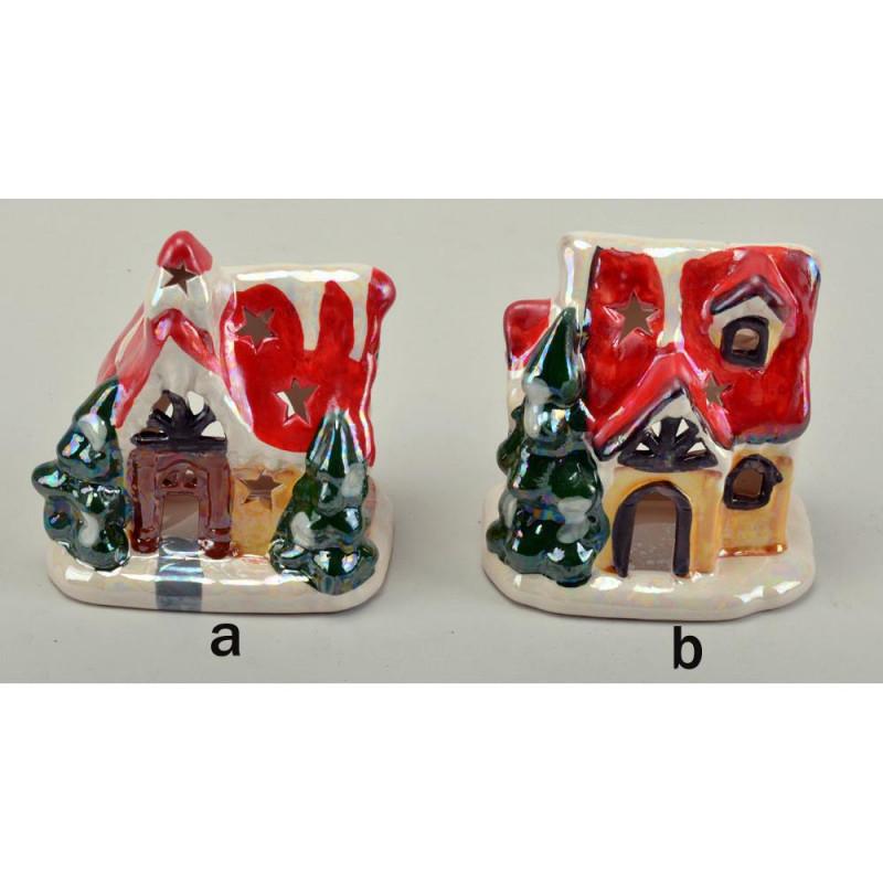 Рождественский камин для свечей домик