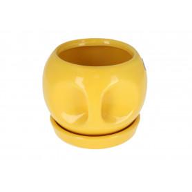 Ceramiczna doniczka z uszkiem, mix kolorów