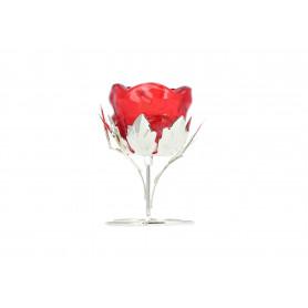 Świecznik róża z srebrną podstawką