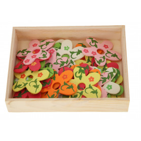 Drewniane kwiatki z dziurką