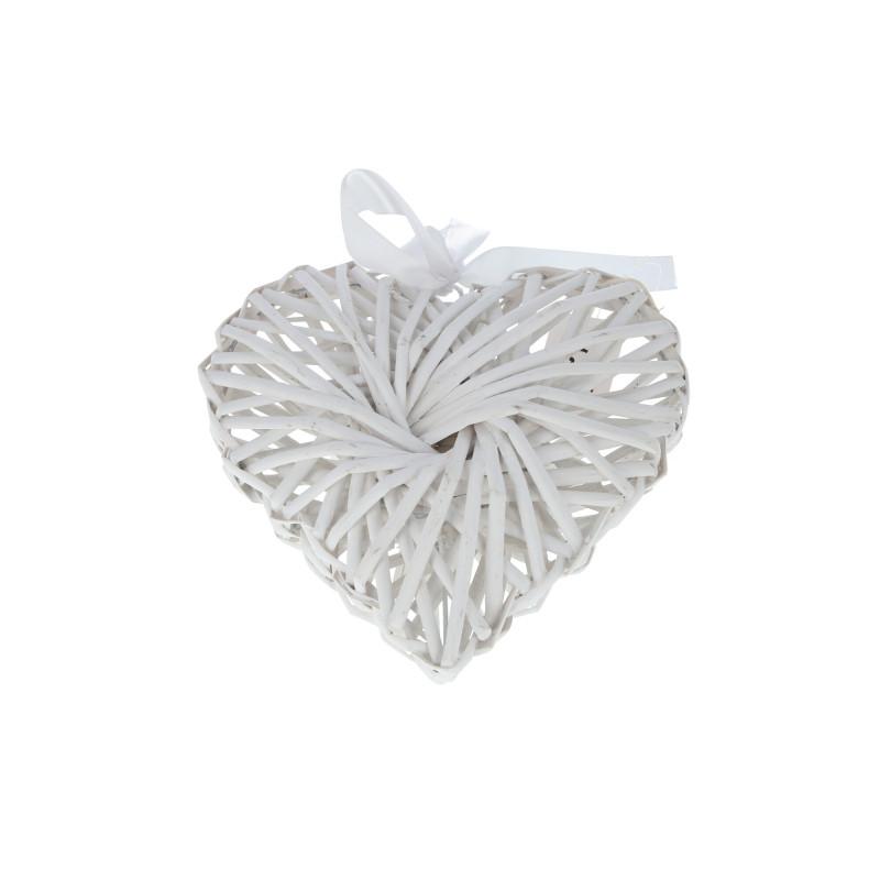 Wiklinowe serce białe z kokardką