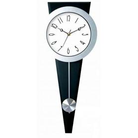 Zegar srebrny na trójkącie z wahadłem
