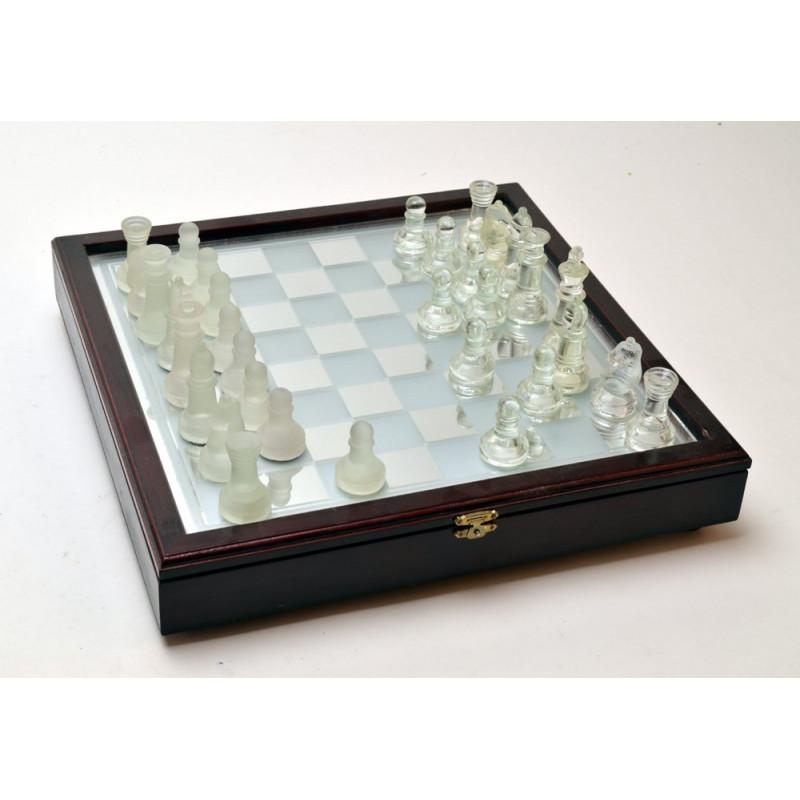 Szkło- gra z drewnianą oprawą