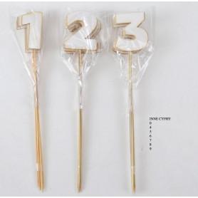 Деревянное декоративное украшение цифра на палочке