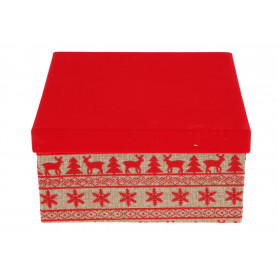 Bożonarodzeniowy papierowy FLOWER BOX 3w1 welurowy z jutą