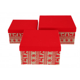 Papier bożonarodzeniowy FLOWER BOX 3w1 welurowy z jutą