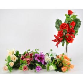 Bukiet lilii z różą i liściem