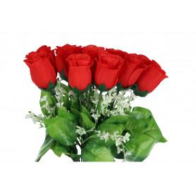 Kwiaty sztuczne bukiet róż (pąk z gipsówką)