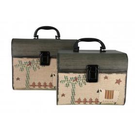 Drewniany kuferek 2w1 zielone wieko