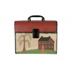 Drewniany kuferek 2w1 czerwone wieko