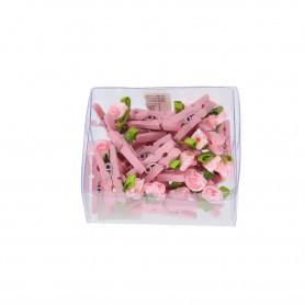 Drewniany spinacz różyczki 24szt/kpl