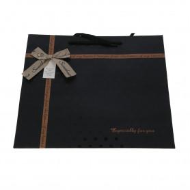 Papierowa torebka -czarna z kokardą duża
