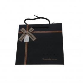 Papierowa torebka  czarna z kokardą mała