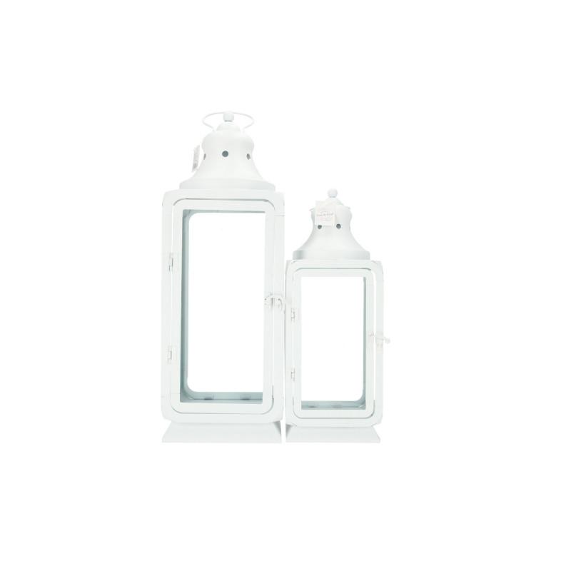Metalowa latarnia biała kpl 2szt