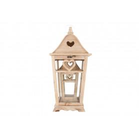 Drewniana latarnia ze szkłem