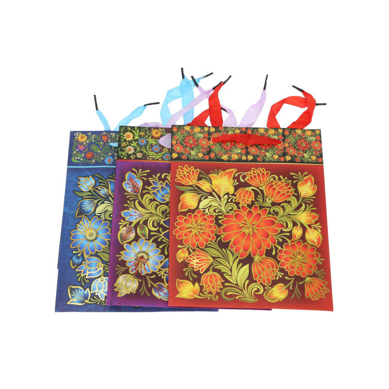 Papier torebka ludowo-kwiatowa mała