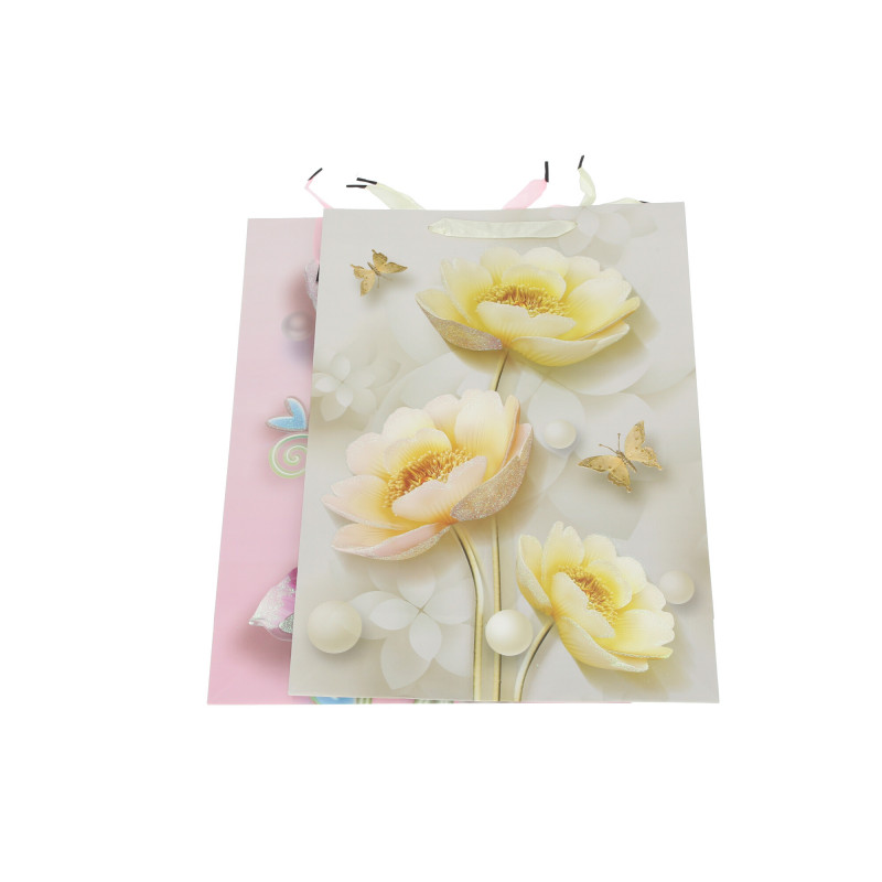 Papier torebka nowoczesne kwiaty duża