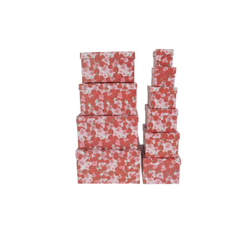 Papier FLOWER BOX różany set 10w1