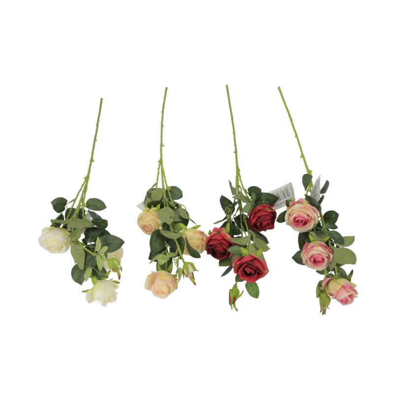 Kwiaty sztuczne róża gałązka, 4 kwiaty