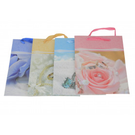 Papier torebka ślubne kwiaty 24x18x8cm