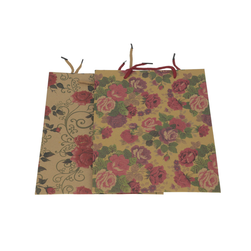 Papier torebka w kwiaty 25x20x8 cm