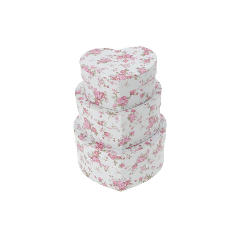 Papier FLOWER BOX serce, set of 3