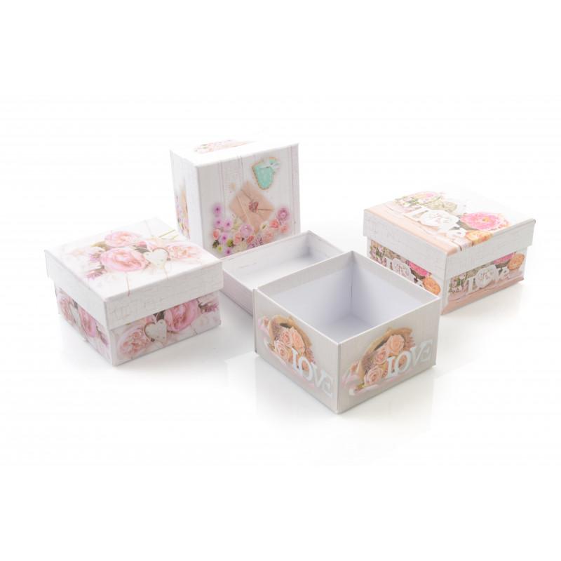 Papier flower box LOVE serce 12 szt.