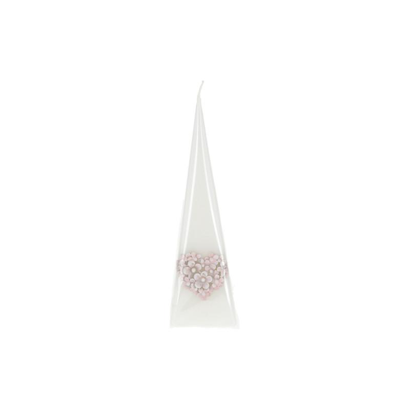 Świeca FLOWER HEART pir 230 biała perła