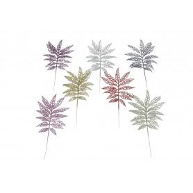 Kwiaty sztuczne brokatowe liście ażurowe