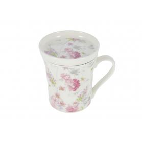 Ceramika kubek z zaparzaczem Róża
