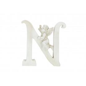 Gipsowa litera N z aniołkiem