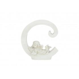 Gipsowa litera C z aniołkiem