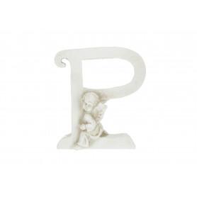 Gipsowa litera P z aniołkiem