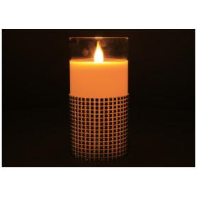 Tw.sztuczne świeca led w szkle 7,5x15cm