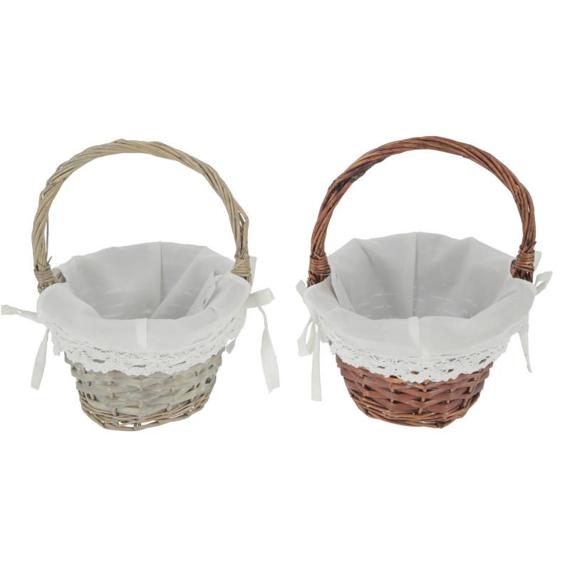 Koszyk biały brązowy na Wielkanoc okrągły z tkaniną