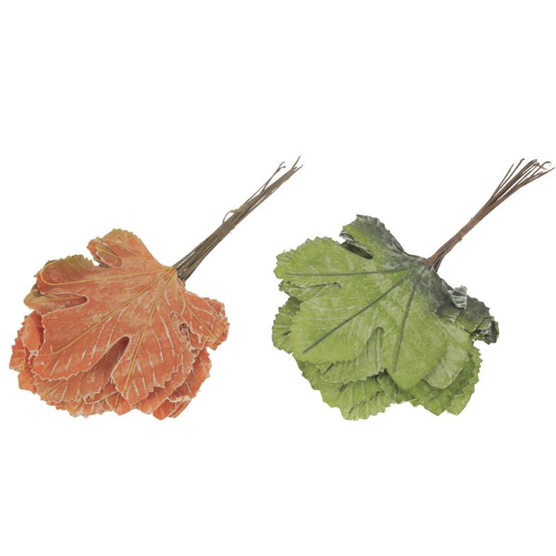 LIŚCIE KLONU (zielone-brązowe)-Kwiaty sztuczne