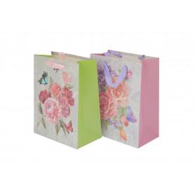Papier torebka barokowe kwiaty 18x23x8cm