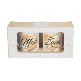 Ceramiczny zestaw kubków Mąż Żona