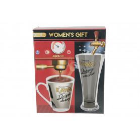Ceramiczny kubek i szklanka do piwa