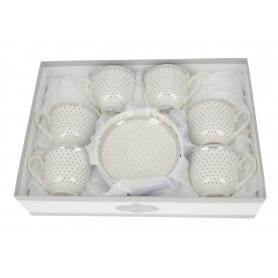 Ceramiczny komplet filiżanek ze spodkiem 250ml
