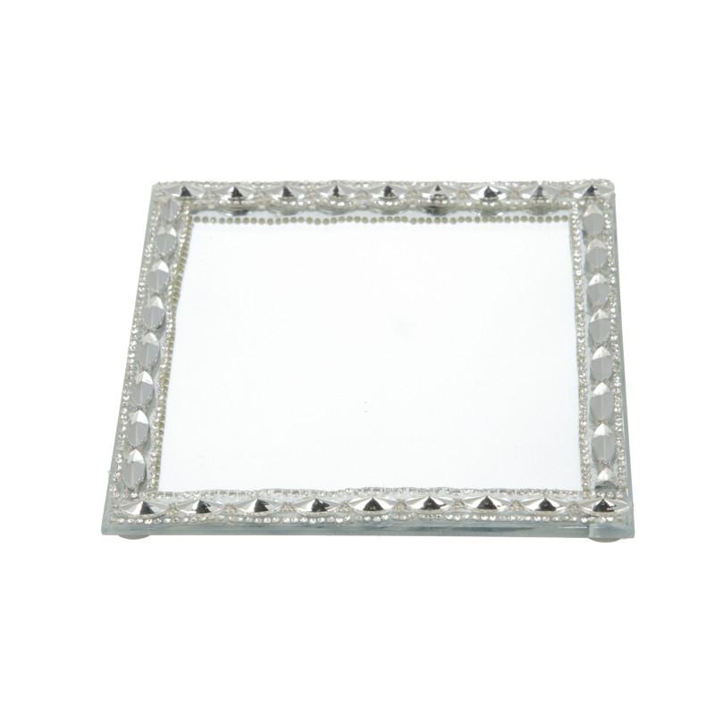Szklana podstawka pod świecę 15x15x1cm