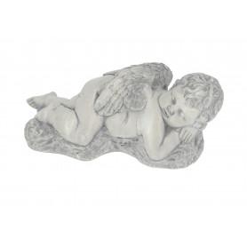 Gipsowy aniołek duży leżący szary
