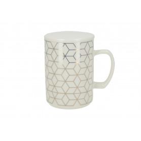 Ceramika kubek Chic Geo 460l z pokrywką