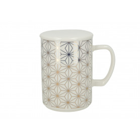 Ceramiczny kubek Chic Geo 460l z pokrywką